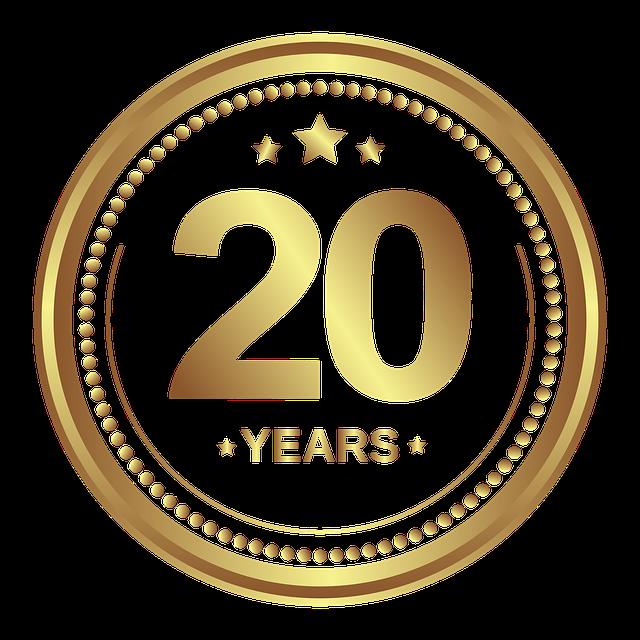 medaile se zlatým nápisem 20 let